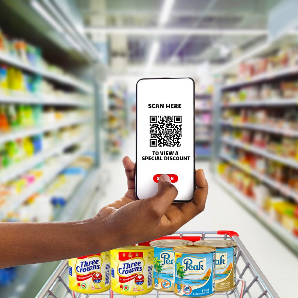 Shopping for Peak Milk with a phone screen with QR-Code
